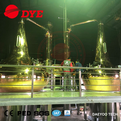 3000L + 5000L All Copper Traditional Scottish Double Pot Stills with Copper Spirits Safe and Working Platform
